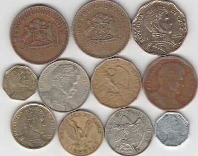 11 different world coins from CHILE