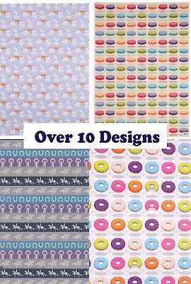 Wrapping Gift Wrap Paper & Tag 12 Designs Unicorn Sloth Burger Horse Flamingo