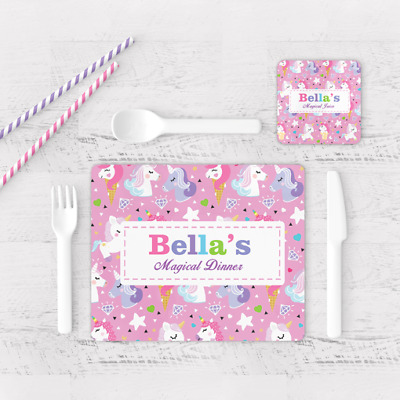 Personalised Unicorn Magical Dinner Kids Children's Table Placemat & Coaster Pnk