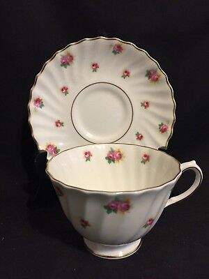 Royal Doulton Rosebud Cup and Saucer, Pink Roses & Gold Trim