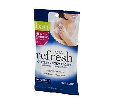Ban Total Refresh Cooling Body Cloths Invigorate 10.0ea(4 Pack)