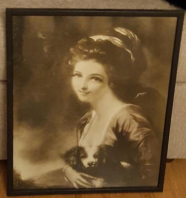 Antique Sepia Tone Lithograph Print - Lady Holding Pup - BEAUTIFUL OLD PRINT