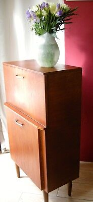 60s 70s Mid Century Retro Vintage Cocktail Drinks Cabinet Bar Unit Danish Desk