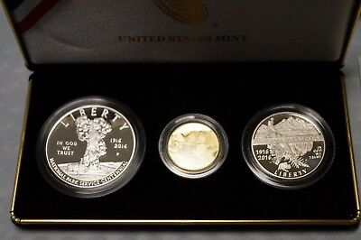 2016 W National Park Service Proof Silver & Gold 3 Coin Set