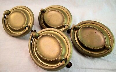 Set of 4 Vintage Metal Furniture Dresser Drawer Hardware Handles Pulls