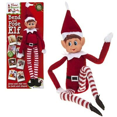 """12"""" Bend And Pose Wire Bendable Selfie Sitting Elf Decoration Elves Behaving Toy"""