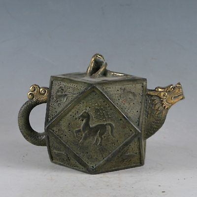 Chinese Rare Bronze Dragon&Horse Teapot Made During The Qianlong Period HST0015