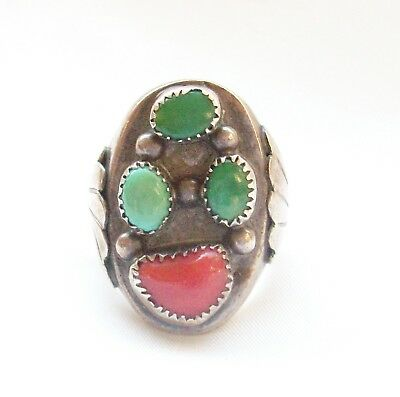 Large and Very Heavy Vintage Navajo Turquoise Coral Sterling Ring Size 11