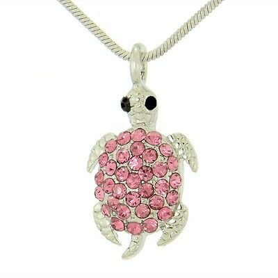"W Swarovski Crystal Sea Turtle Ocean Beach Forrest Hot Pink Pendant 18"" Chain"