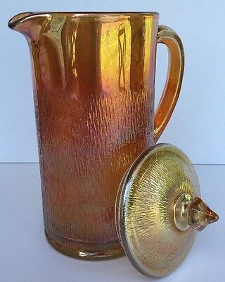 Jeannette Tree Bark Carnival Glass Water Pitcher w/Lid ~ Marigold 46 Ounce