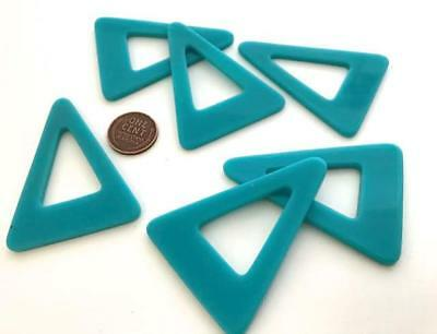 Vintage Large 43 x 58mm Aqua Lucite Triangular Shape Hoop Beads Findings 6