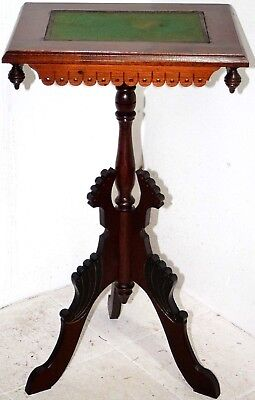Antique Carved Walnut Eastlake Accent Table / Stand W/ Felt Top & Spun Finials.