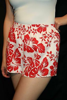 M~L Womens White Hawaiian Floral Resort Cotton Vtg 80s USA Boxer Style Shorts