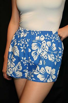 M~L Womens Blue Hawaiian Floral Resort Cotton Vtg 80s USA Boxer Style Shorts