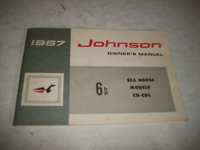 1967 Johnson 6 Hp Cd-Cdl Models Outboard Owners Manual