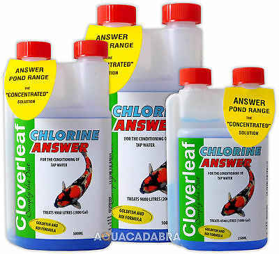 Cloverleaf Chlorine Answer Pond Tap Water Koi Goldfish Dechlorinator Treatment
