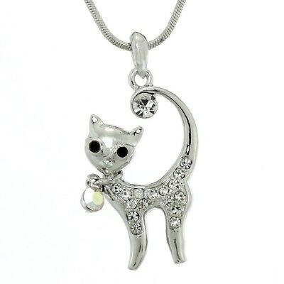 "Made With Swarovski Crystal Cat Pet New Cute Clear Pendant Necklace 18"" Chain"