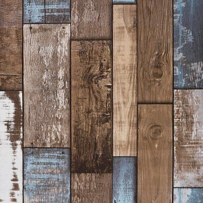 Akea Rustic Wood Wallpaper Roll VintageWood Plank Look for Home Decal Cafe