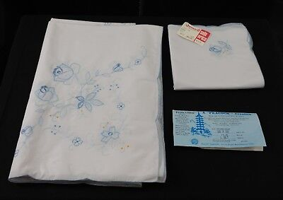 Vintage NEW Peacock Floral Tablecloth with 8 Matching Napkins, 9 Piece Set, NWT