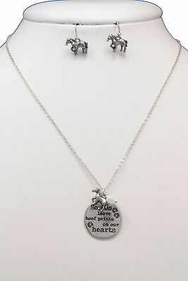 New Silver Horses Leave Hoof Prints on Our Hearts Necklace Horse Earrings Set