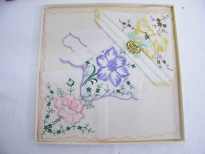 Vintage Swiss Hand Loom Embroidery Ladies Fine Handkerchiefs In Box