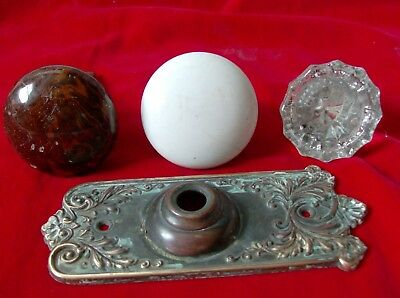Lot of 3 Antique Glass / Porcelain Vintage Door Knobs 1 Brass Doorknob Plate