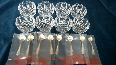Crystal Salt Cellars And Hepplewhite sterling Salt Spoons Brand New set of 8 & CRYSTAL SALT CELLARS And Hepplewhite sterling Salt Spoons Brand New ...