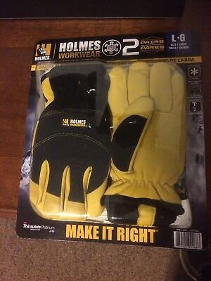 Mike Holmes Workwear Goatskin 3M Thinsulate Winter Gloves 2-Pair L
