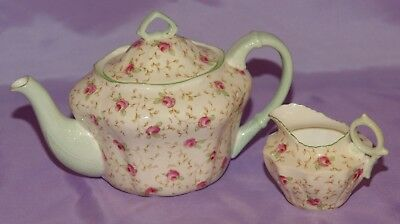 Antique Paragon 3 Cup Teapot & Creamer ☆ The Queen & Queen Mary Unused Condition