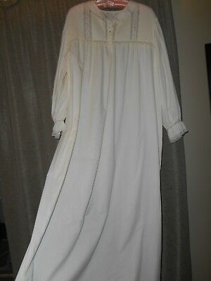 VTG long SOFT nightgown BARBIZON off white pintucks lace embroid GRANNY XL 261