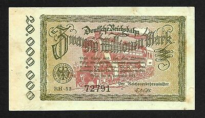 Germany 20,000,000 marks 1923 P#-s1015, Hyperinflation RailRoad banknote.