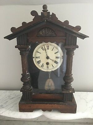 Old Clock .. Wood Surround .. May Work If Had Key Or Spares And Repairs