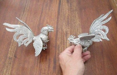 Ornate Pair Of Silver Plate Pheasants - Mating Ritual Dance - Very Detailed