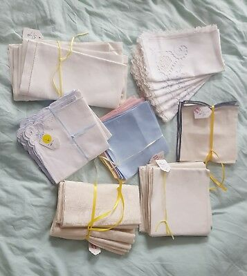 Vintage mid century linen dinner napkins, mixed lot of 40 napkins