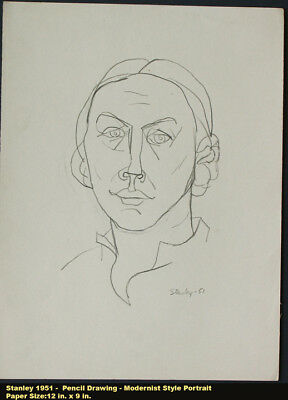 STANLEY 1951 Expressionist Drawing on Paper Female Portrait