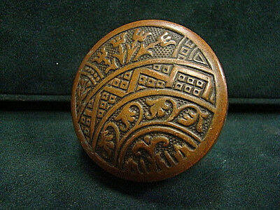 Antique Victorian Decorative Heavy Thick Brass Bronze Door Knob A