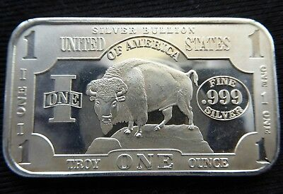 1 oz UNITED STATES of AMERICA BUFFALO/BISON 999 SILVER BULLION BAR