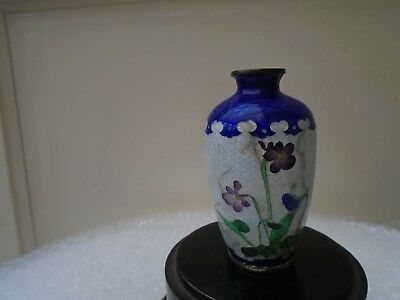 small vintage/antique japanese ginbari cloisonne vase with flowers   TAKE A LOOK