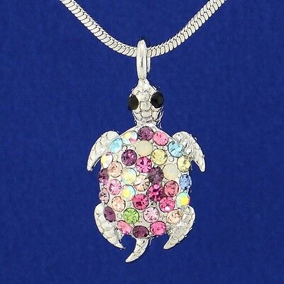 "Turtle Pendant Made With Swarovski Crystal Sea Ocean Multi Color 18"" Chain"