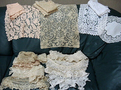 Lot of 25 pcs~Vintage LACE Linens Runners, Placemats, Collars, Trim, Crafters