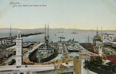 Early Colour Postcard. Gibraltar, Dry Docks & Ships of War.
