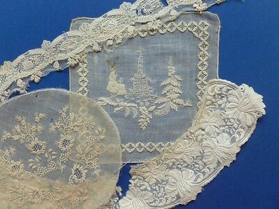 Beautifully Embroidered Victorian Collar & A Collection Of Embroidered Fragments