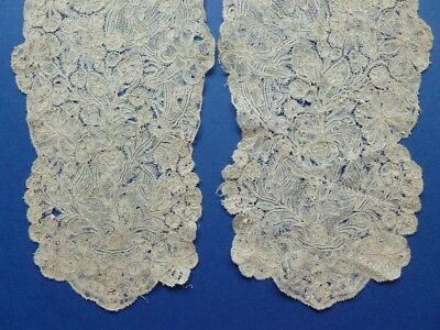 A Pair Of Mid 18Th Century Brussels Or Devon Bobbin Lace Joined Lappet