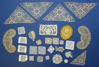 A COLLECTION OF TWENTY-NINE ANTIQUE LACE MOTIFS FOR TRIMMING - Mainly Hand Made