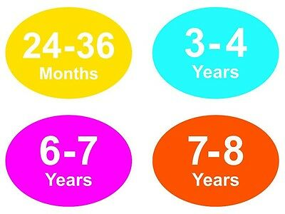 Coloured Baby & Childrens Garment Size Stickers - Sticky Labels - 6 - 7 Years