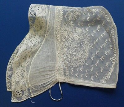 A 19Th Century Lace Cap From The Netherlands With Embroidered Bird Motifs