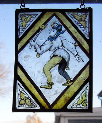 Interesting Stained Glass Jester Joker Victorian Decorative Interior