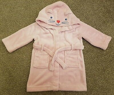 Lovely John Lewis girls pink hooded dressing gown, 9-12 months