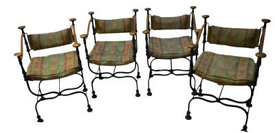 19th Century Curule Armchairs Wrought Iron Bronze 4 Available Sold Separately