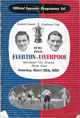 RARE 1950 FA Cup semi-final programme LIVERPOOL v EVERTON: Maine Road Manchester
